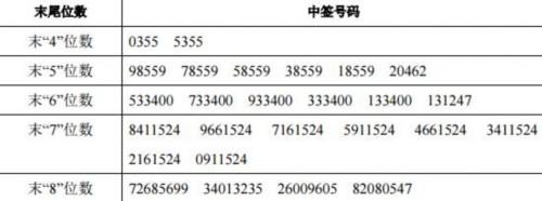 睿能科技网上申购中签结果出炉 中签号码共有23103个