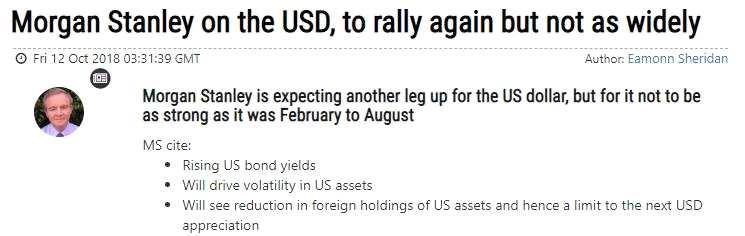 摩根士丹利:美元或再次上涨,但幅度料不及2-8月