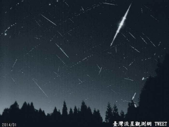 2014年合欢山梅峰的自动监测设备拍测到象限仪座流星雨。(图/台湾流星观测网/台北市立天文馆)