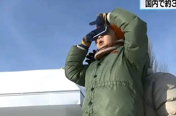 日本北海道东京3年来首次出现日偏食