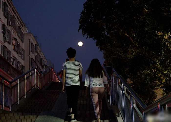 在深圳街头亦能看到超级月亮。