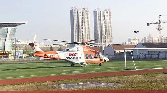 江苏人保财险救援直升机整装待发。 陈?#23545;?供图
