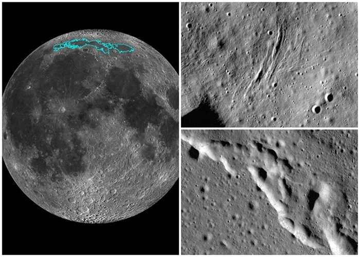 """研究人员指""""冷海""""(左图蓝色部分)地壳上的瓣状陡坡(右上下图),反映月球在不断""""缩水""""。"""