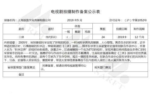 刘慈欣科幻小说《三体》将拍电视剧。来源:国家广播电影电视总局电视剧电子政务大厅