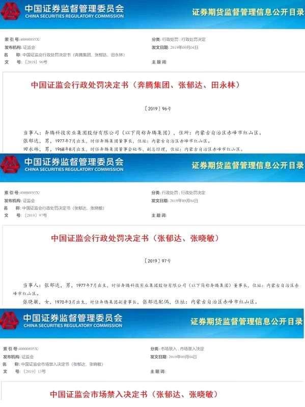 """奔騰集團董事長夫婦操縱股價 被""""沒一罰五""""達422萬"""