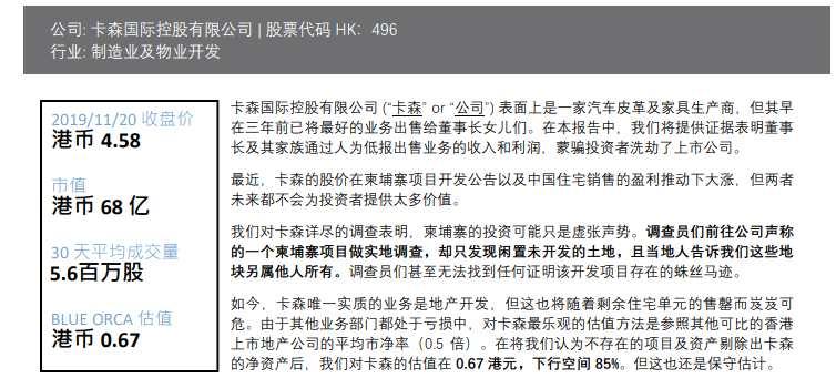 港股上市公司卡森國際遭機構沽空 股價閃崩90%