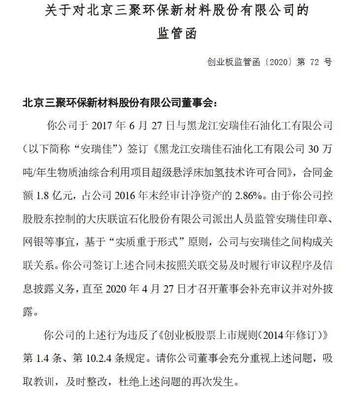 1.8億關聯交易未及時披露 三聚環保收監管函