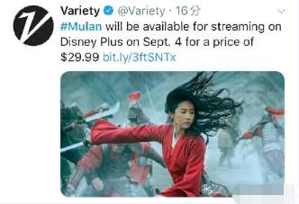 30美元看一次《花木兰》 85%的美国网友都不愿意