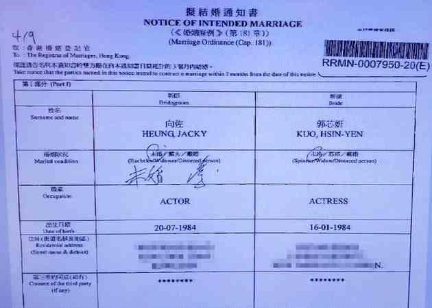《【杏鑫登陆注册】向佐二度在港申请注册结婚 郭碧婷签字日期仍未》