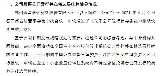 禾昌聚合A股轉戰精選層 暫不符合晉層財務標準