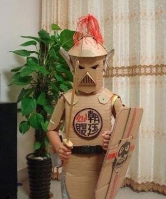 纸皮做的盔甲