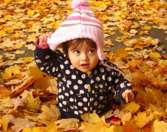 藏在树叶下的小朋友