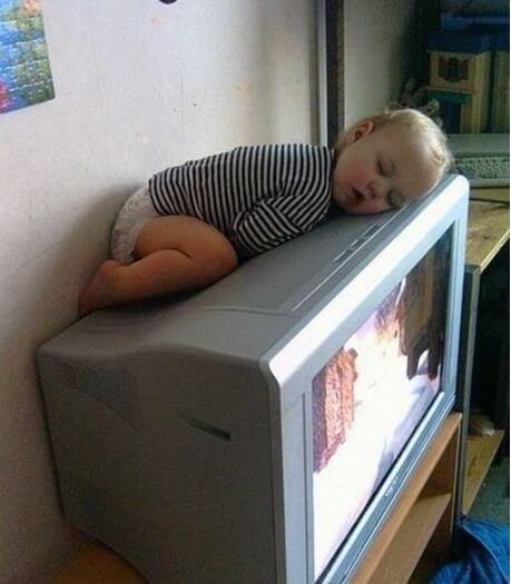 爬在电视机上睡觉,让爸妈看着我吧