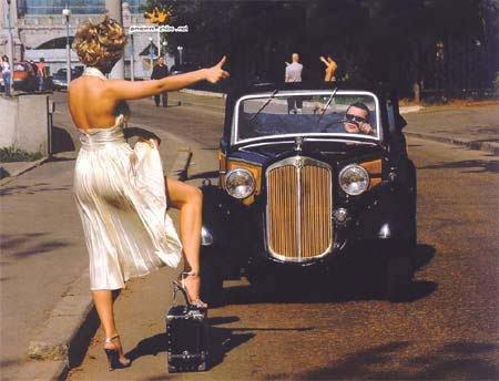 美女的拦车技巧
