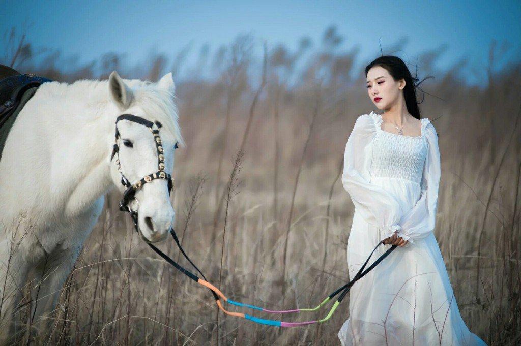 仝爱爱童话世界里面的白马美女 写真照