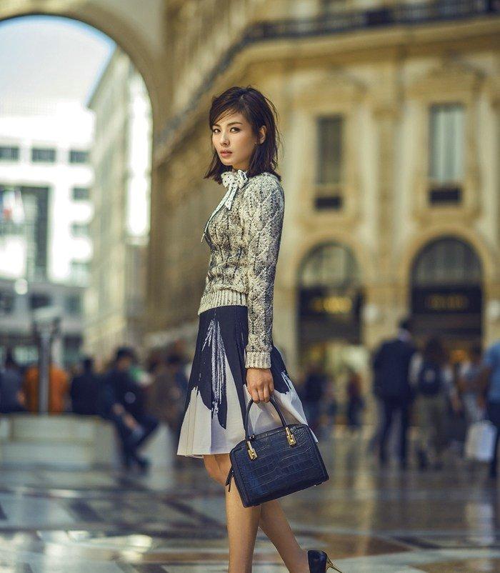 明星辣妈刘涛米兰时尚街拍