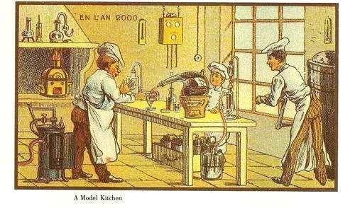 其中一张漫画预测:21世纪的厨师就像化学家、生物学家一样。