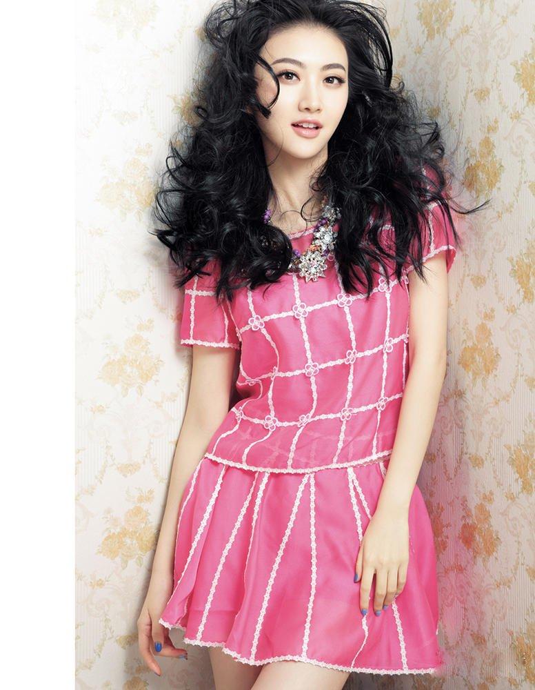 景甜明艳裙装热带风情杂志写真