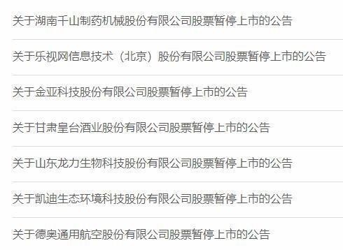 深交所:乐视网等7公司被暂停上市 近3000亿财富灰飞烟灭