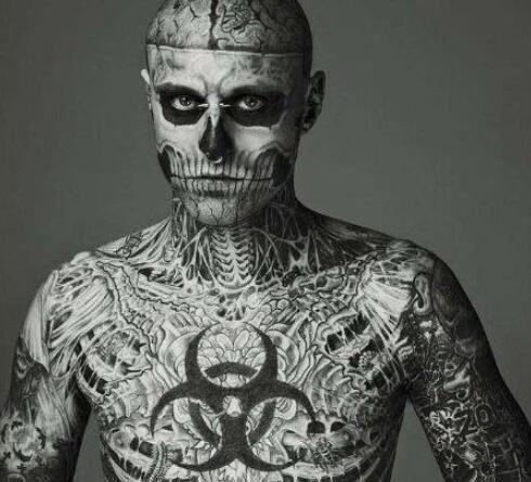 最多人骨纹身吉尼斯纪录保持者,瑞克·格内斯特(全身139处)