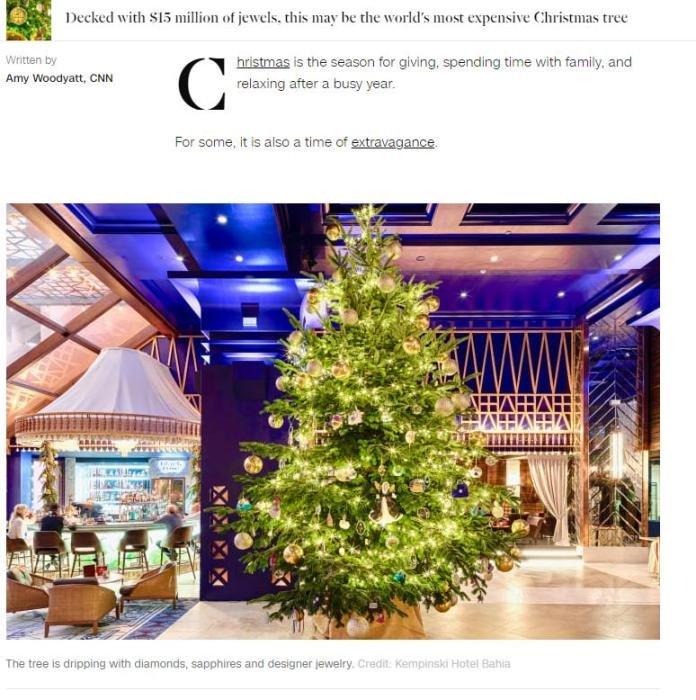 世界上最贵圣诞树,价值1190万英镑(相当于人民币1亿多元)