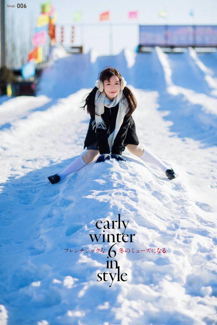 日本美女學生妹jk制服雪地寫真