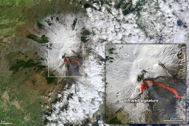 从太空看埃特纳火山的火热喷发,在今年2月份连续喷发3次