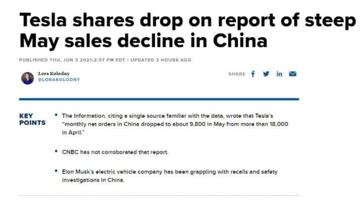 特斯拉中国市场5月份订单减半,对特斯拉股价有什么影响,中国市场对特斯拉意味着什么