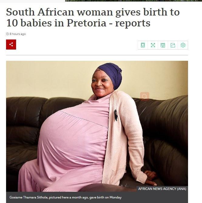 南非一女子生下3女7男 有望打破新纪录