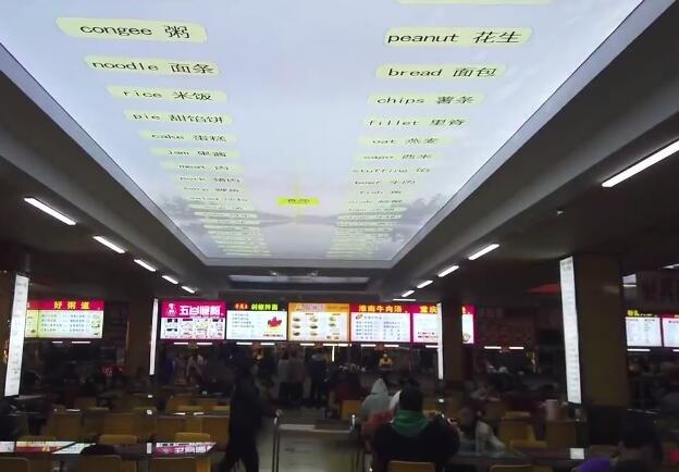 河南一高校餐厅现英语天花板 学生笑称在督促自己:吃饭时也能背单词